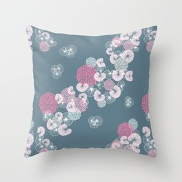 Floral Seamless Pattern on Blue Throw Pillow