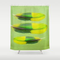 andreas preis Shower Curtains featuring FEATHER FEATURE by Catspaws