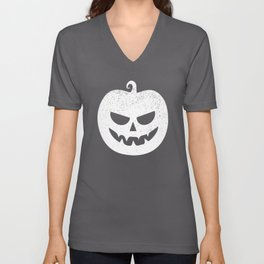 Pumpkin Monster White Unisex V-Neck