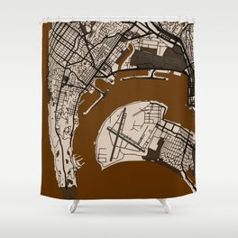 San Diego Street Map // Brown Theme Shower Curtain