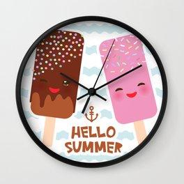 Hello Summer Kawaii ice cream, ice lolly Wall Clock