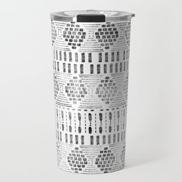 Aztec I Pattern Black and White Travel Mug