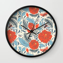 Spanish Red Rose Pattern Wall Clock
