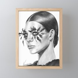 Feathery lashes Framed Mini Art Print
