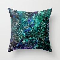 siren Throw Pillows featuring Siren by Nemeth Alina