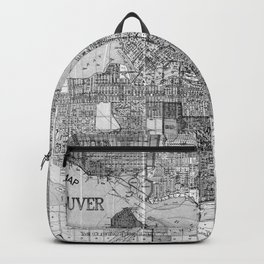 Vintage Map of Vancouver Canada (1920) BW Backpack