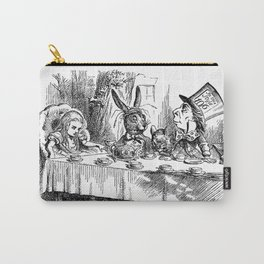 Vintage Alice in Wonderland Mad Hatter & rabbit tea party antique goth emo book gothic drawing print Carry-All Pouch