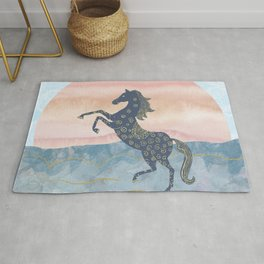 Rearing Horse in the Morning Sunrise - Ornamental Gold Theme Rug