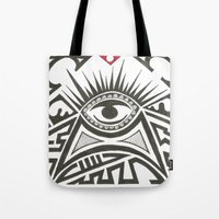 all seeing eye Tote Bags featuring All seeing eye by Andready