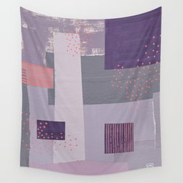 Purple, Gray and Orange Abstract Collage Wall Tapestry