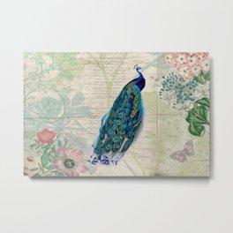 Vintage Peacock on Botanical Flowers Background Metal Print