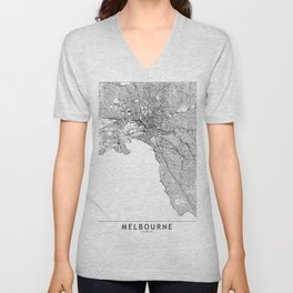 Melbourne White Map Unisex V-Neck