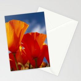 California Dark Orange Tangerine Poppies in Sunny Field Stationery Cards