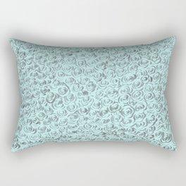 Aqua and Gray Rose Flurry Rectangular Pillow
