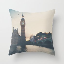 sunset over the city ... Throw Pillow