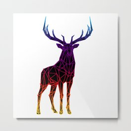 Rainbow Geometric Deer Metal Print