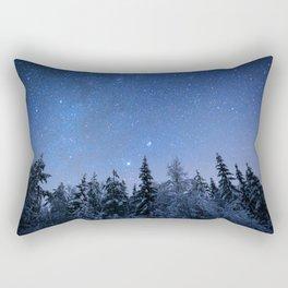 Shimmering Blue Night Sky Stars 2 Rectangular Pillow