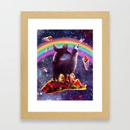 Sloth Riding Llama Framed Art Print
