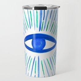 All Seeing Eye in Blue Watercolor Travel Mug