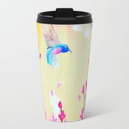 Hummingbirds with pink and yellow Travel Mug