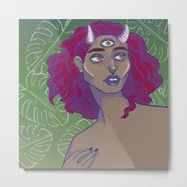 horned lady Metal Print