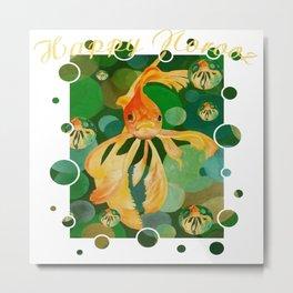 Happy Norooz Persian New Year Goldfish In Green Sea Metal Print