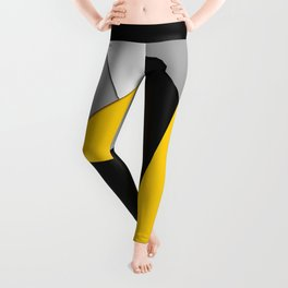 Simple Modern Gray Yellow and Black Geometric Leggings