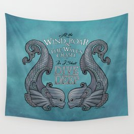 Dive Deep - Silver Dolphins Wall Tapestry