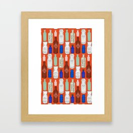 Vintage Bottle Collection Illustrated Repeat Pattern Print Framed Art Print