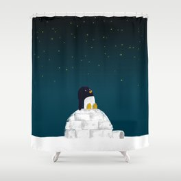 Star gazing - Penguin's dream of flying Shower Curtain