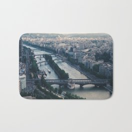 Aerial photograph of the city of Paris from the Eiffel Tower Bath Mat