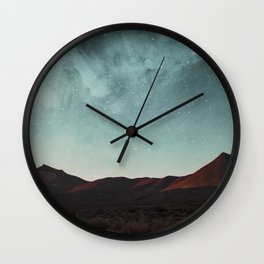 Universe above the mountain peaks Wall Clock
