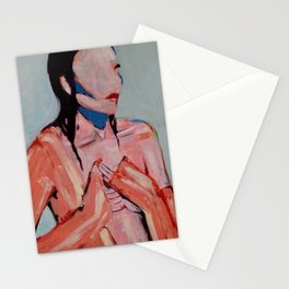 Heart orange and blue Stationery Cards