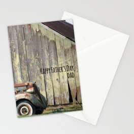 Happy Father's Day Dad Vintage Automobile and Weathered Barn Stationery Cards