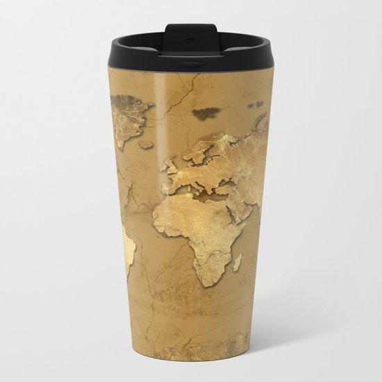 world map marble gold 3 Metal Travel Mug