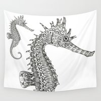 seahorse Wall Tapestries featuring Seahorse by Gilles Bosquet