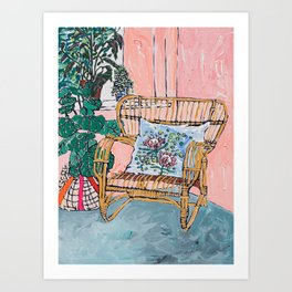 Cane Chair After David Hockney Art Print
