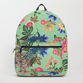 Peacock Floral in Mint Backpack