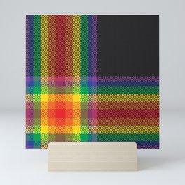 Rainbow Plaid Tartan Textured Pattern Mini Art Print