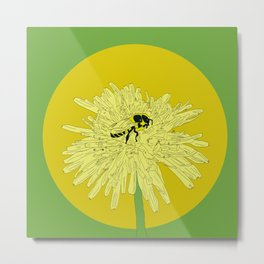 Bee and Dandelion  Metal Print