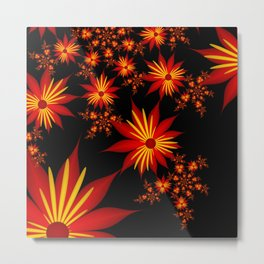 Flower Power Red, Yellow, Black Backgound Metal Print