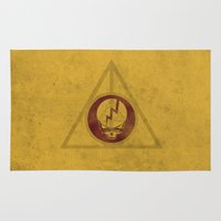 deathly hallows Area & Throw Rugs featuring Grateful Deathly Hallows by jerbing