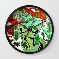 poison ivy Wall Clocks featuring Poison Ivy by transFIGure