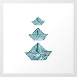 Watercolor turquoise paperboats Art Print