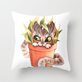 Cat Plant  Throw Pillow
