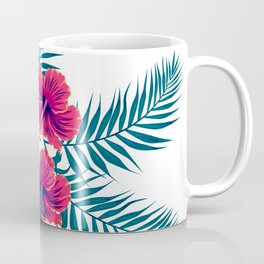 Palm Leaves and Hibiscus Flowers Coffee Mug