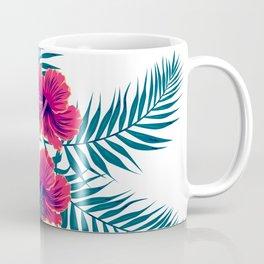 Palm Leaves and Hibiscus Flowers Coffee Mug