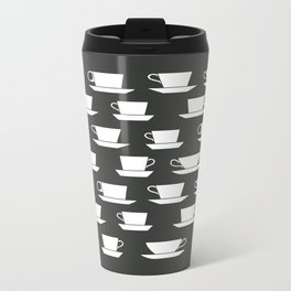 Pattern of Coffee and Tea Cups Metal Travel Mug