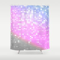 pixel art Shower Curtains featuring Pink Lavender Gray Pixels by WhimsyRomance&Fun