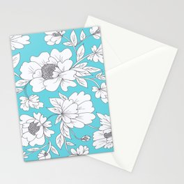 Floral in Turquoise Stationery Cards